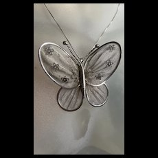 Delicate Vintage Sterling Butterfly Pendent