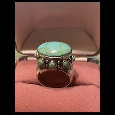 Unusual Vintage Turquoise Sterling Silver Ring