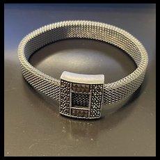 Designer Judith Jack Vintage Sterling Mesh With Pyramid Marcasite Bracelet