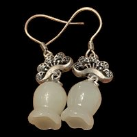 Striking Sterling Hetian White Jade Flower Bud Drop Earrings
