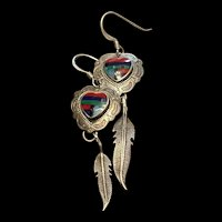 Stunning Vintage Native American Multi Stone Inlay Heart And Feather Sterling Dangle Earrings