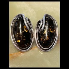 Stunning Vintage Baltic Amber Sterling Clip Earrings