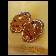 Stunning Vintage Large Sterling Baltic Honey Amber Earrings