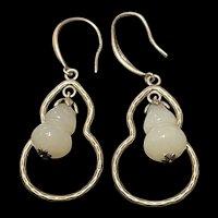 Striking Sterling Hetian White Gourd Jade Hoop Drop Earring
