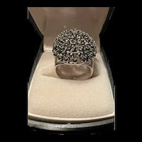 Unique Vintage Sterling Statement High Dome Marcasite Ring