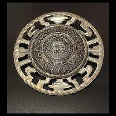 AZTEC Calendar Mexican Ornate Openwork Brooch Pendant