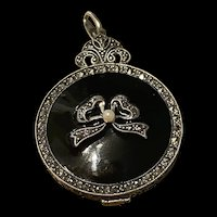 Outstanding Victorian Sterling Silver Seed Pearl And Black Onyx With Marcasite Locket Pendant