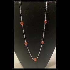 Fabulous Vintage Baltic Amber Beads Sterling Link Necklace