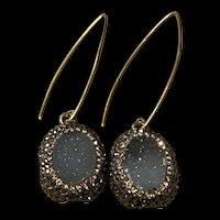 Amazing Vintage Gilt Silver Natural Blue Druzy Quartz Dangling Earrings