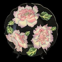 Splendid Vintage Chinese Famille Rose Noire Large Hand Painted Decorative Platter