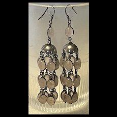 Spectacular Art Nouveau Vintage Quartz Sterling Chandelier Earrings