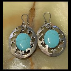 HOB Signed Mexican Large Vintage Sterling Turquoise Hoop Earrings
