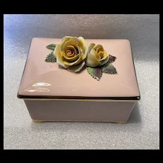 CROWN Floral Bone China Hand Painted Porcelain Trinket Box Made In England