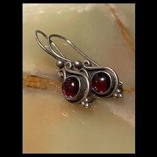 Gorgeous Vintage Sterling Garnet Drop Earrings