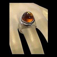 Stunning Vintage Baltic Acorn Amber Sterling Ring