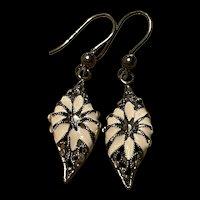 Delicate Art Deco ITALY Bohemian Enameled Daisy Sterling Drop Earrings