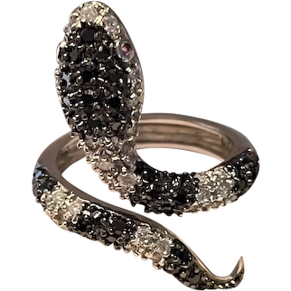 Gorgeous Vintage Pave Encrusted Serpent Snake Statement Ring