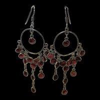 Splendid Vintage Sterling Silver Chandelier Garnet Earrings