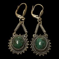 Sterling Vintage Green Natural Turquoise Sterling Earrings