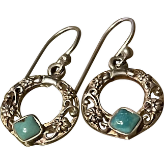 BARSE Sterling Natural Blue Turquoise Sterling Hoops Earrings