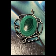 Stunning Mexico Vintage Malachite Sterling Silver Pendent