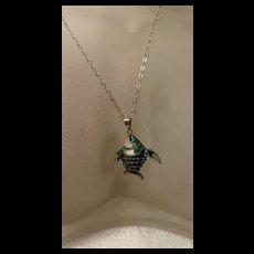 Vintage Green Cloisonné Enamel Articulated Fish Pendant Necklace