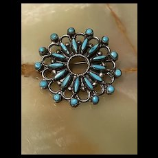 Exquisite Large Native American Zuni Petite Point Snake Eyes Turquoise Sterling Brooch