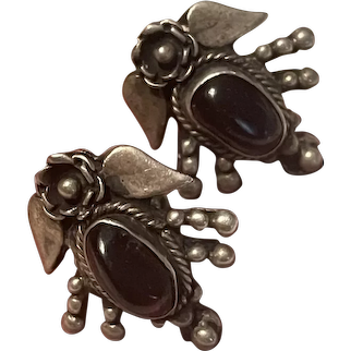 Victorian Antique Bohemian Natural Garnet With Sterling Floral Screw Back Earrings