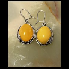 Gorgeous Vintage Butterscotch Amber With Foilage Sterling Drop Earrings