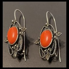 Attractive 1930's Vintage 800 Filigree  Silver Natural Coral Earrings