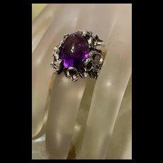 Exquisite Vintage Modernist Sterling Amethyst Ring
