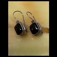 Stunning FNA Vintage Black Onyx Octagon Shaped Sterling Drop Earrings