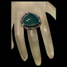 Gorgeous Large Vintage Green Agate Sterling Statement Ring