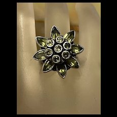 Pretty Vintage Peridot Sunflower Sterling Cluster Ring