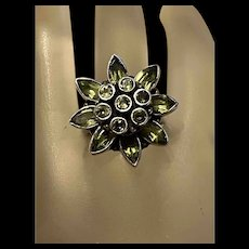 Rare Gorgeous Vintage Peridot Flower Sterling Statement Ring