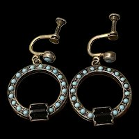 Antique Victorian Sterling Persian Turquoise  With  Black Onyx Drop Earrings