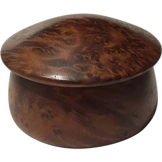 Beautiful Handmade Walnut Knob Lidded Round Trinket Box