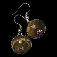 Striking Vintage Faceted Natural Tiger's Eye Bead Dangling Sterling Silver Earrings