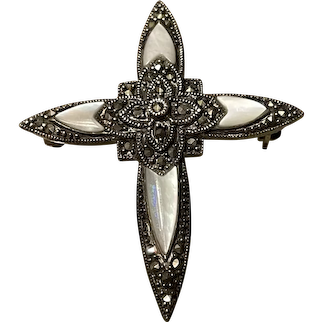 Art Deco Large Mother Of Pearl With Marcasite Sterling Silver Cross Brooch With 925 Hallmarks