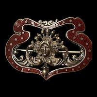 Antique Large Art Nouveau Sterling Silver Guilloche  Enamelled Brooch