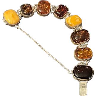 Incredible Vintage Baltic Multi Amber Sterling Link Bracelet With Hallmarks