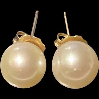 AKOYA Vintage 14K Gold 8mm Culture Pearl Studs Earrings
