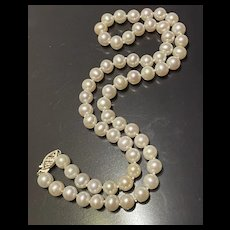 AKOYA Vintage 14K Gold 8mm Culture Pearl Necklace
