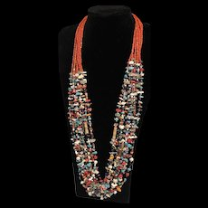 Vintage Natives American Sterling Silver Navajo Handmade Multi Strand Beaded Torsade Statement Necklace