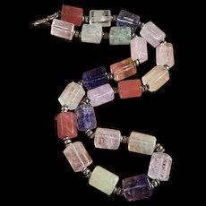 Vintage Multi-Color Quartz Glass Barrel Beads Necklace