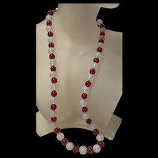 Vintage Chinese Export Moonstone Opalescent With Red Glass Beads Necklace