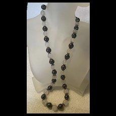 Fabulous Grey Hematite With White Quartz Beads Necklace