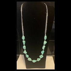 Vintage Sterling Natural Turquoise Nuggets Necklace