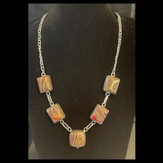 Rare Fabulous Vintage Rainbow Malachite Sterling Silver Necklace