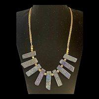 LARISSA LODEN Royal Blue Lapis Lazuli Gemstone Fan Necklace